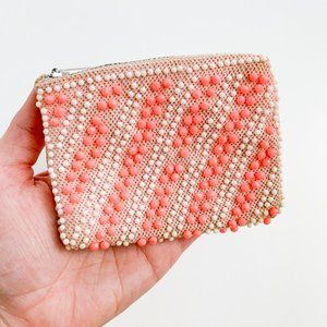 Vintage Pink White Mini Beaded Change Purse